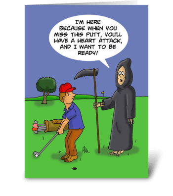 Birthday Card With Grim Reaper To Golfer greeting card