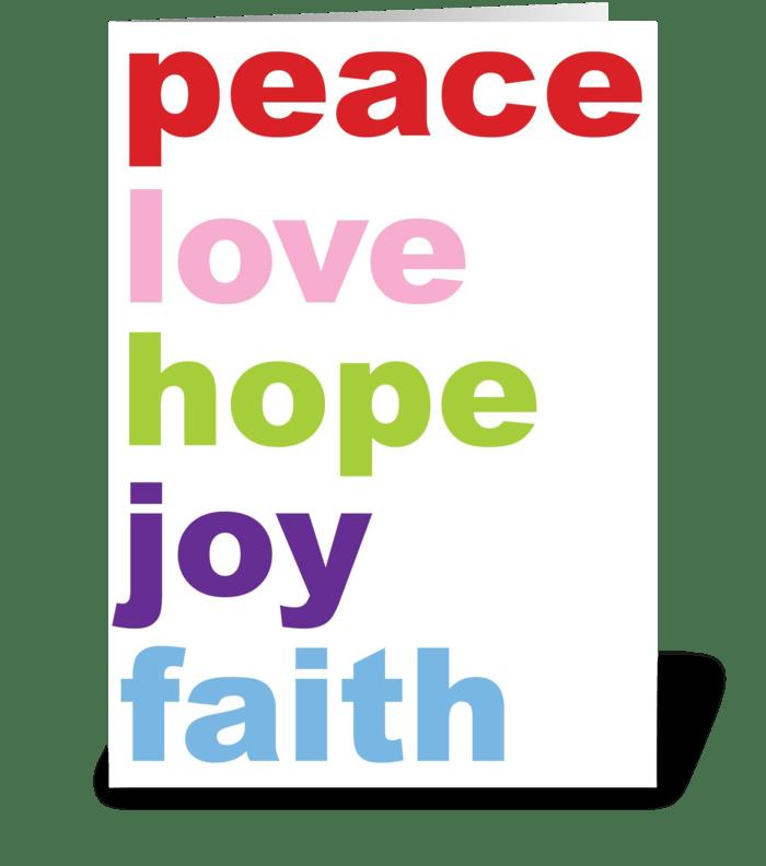 peace, love hope, joy, faith greeting card