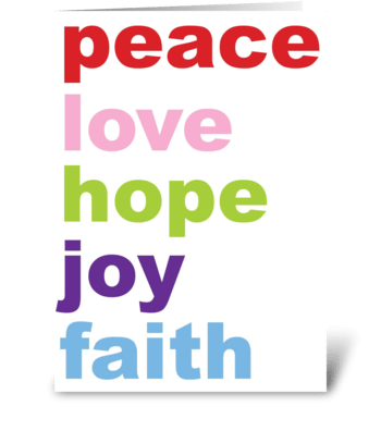 peace, love hope, joy, faith greeting card