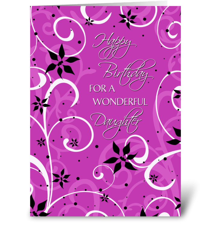 Happy Birthday Daughter Pink Swirls Greeting Card