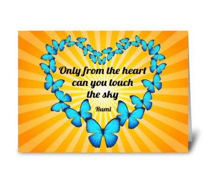 Rumi Poem with Butterflies Heart greeting card