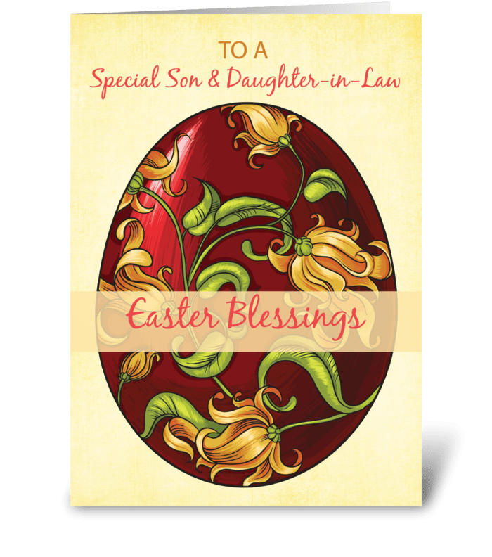 Son and Daughter-in-Law, Easter Blessing greeting card