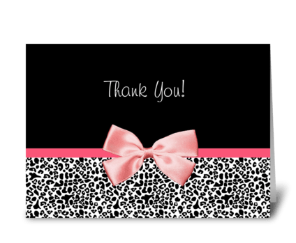 Leopard Print Thank You With Pink Ribbon greeting card
