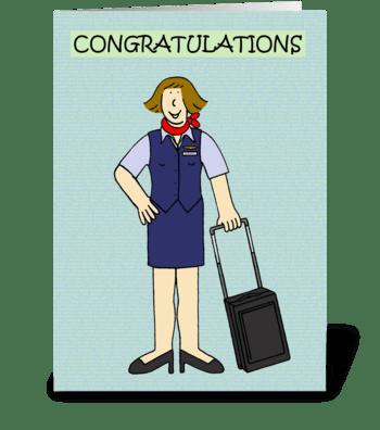 Female Cabin Crew Congratulations. greeting card