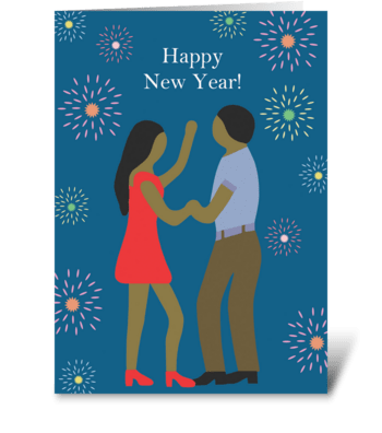 New Year's Dancing Couple greeting card