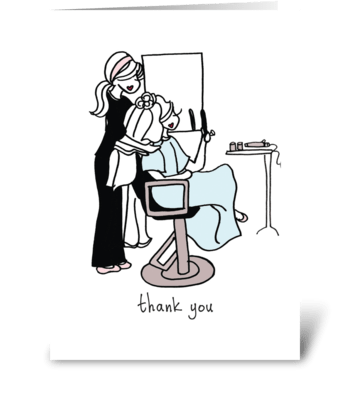 Hairdresser Thank You greeting card