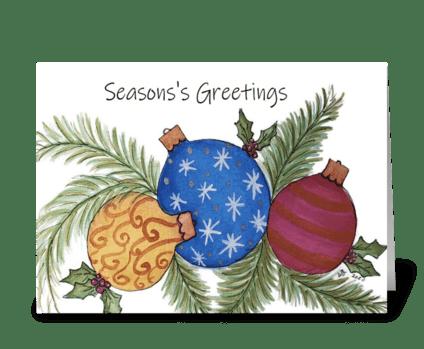 Season's Greetings Ornament Card greeting card