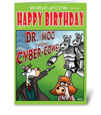 Dr Moo and the Cyber Cows BD card greeting card