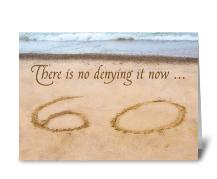 60th Birthday Writing in Sand Seashore greeting card