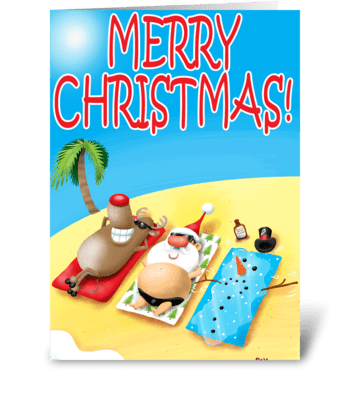 Santa Sunbatheing greeting card