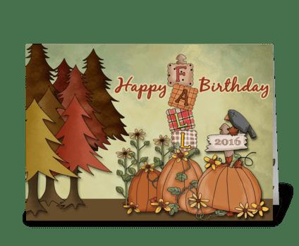 Happy Fall Birthday greeting card