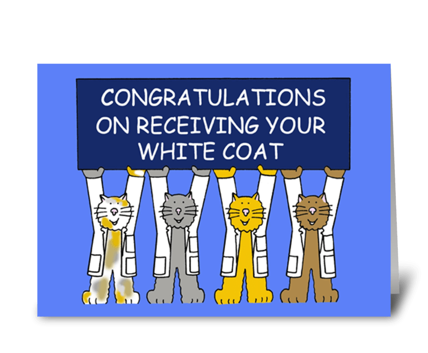 White coat congratulations. greeting card