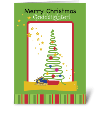 Goddaughter Stars Christmas Tree greeting card