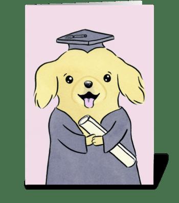 Golden Retriever Puppy Dog Graduation greeting card