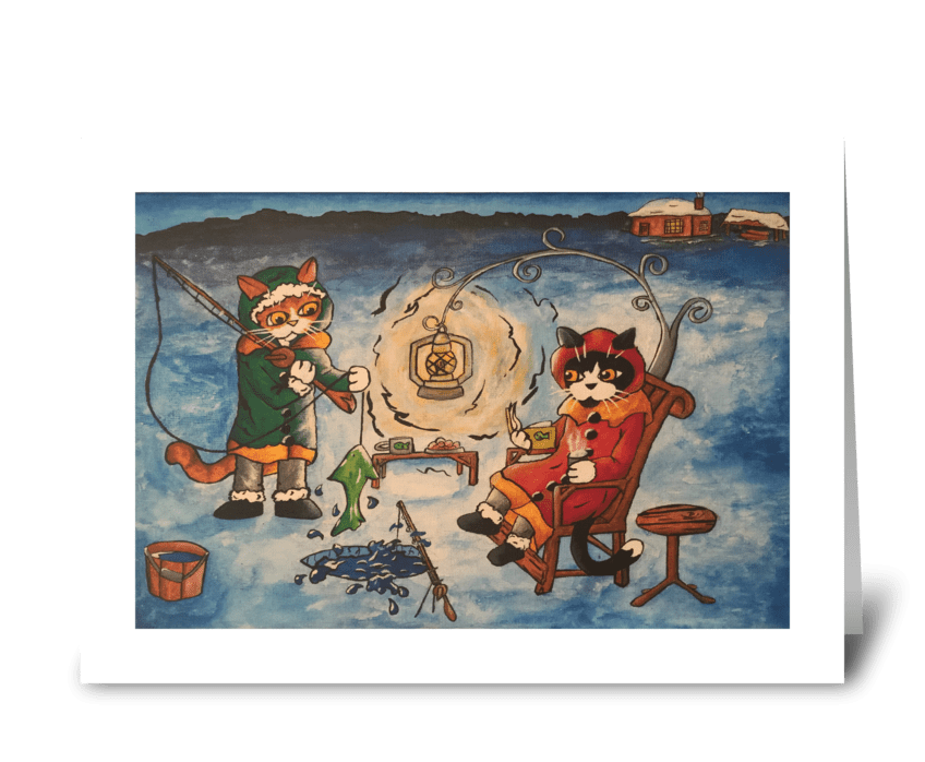 Christmas Ice Fishing at Night Cats greeting card