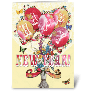 Candy Card BALLOONS Happy New Year greeting card