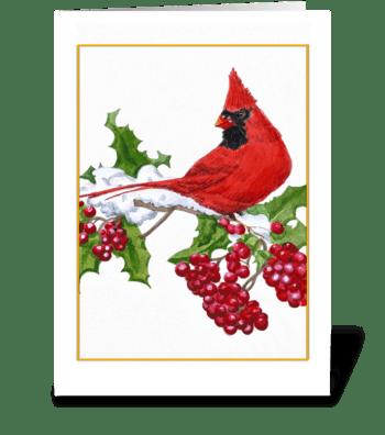 Cardinal and Berries greeting card