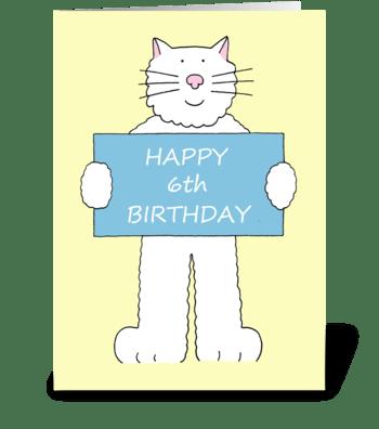Happy 6th Birthday cute cat. greeting card