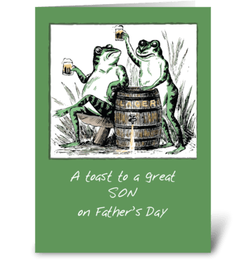Son Father's Day Frogs Toasting w/ Beer greeting card