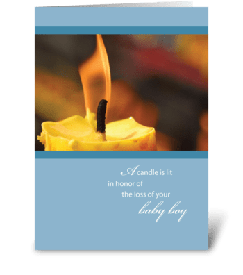 Sympathy Loss of Infant Baby Boy, Candle greeting card