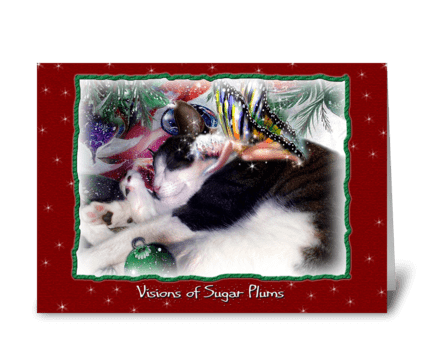 Dreaming of Sugar Plums, Kitty and Faery greeting card