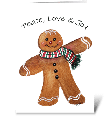 Peace Love Joy Christmas Gingerbread Man greeting card