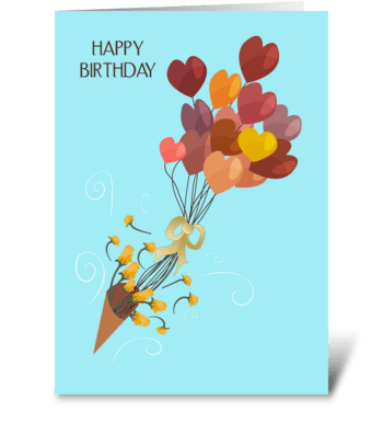 Heart Bouquet Balloons Happy Birthday  greeting card