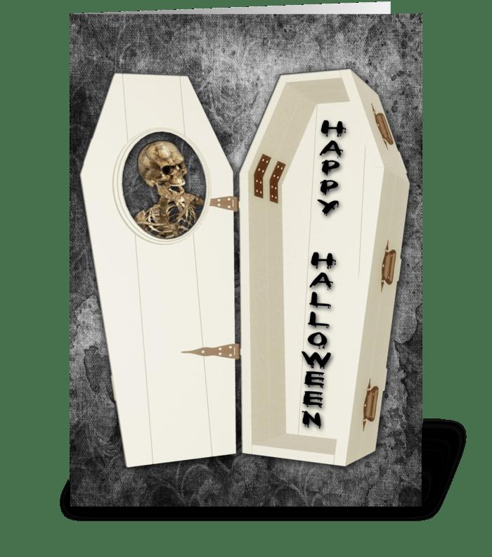 Skeleton, Coffin Halloween Greeting  greeting card