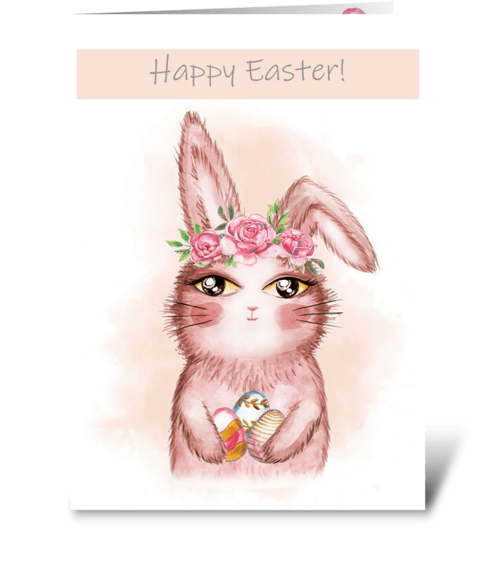 Easter card with cute bunny greeting card