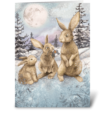 Christmas Bunnies greeting card