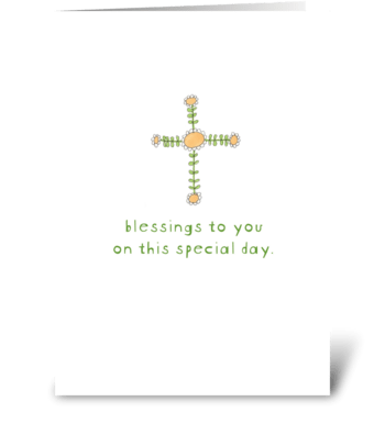 cross of daisies greeting card