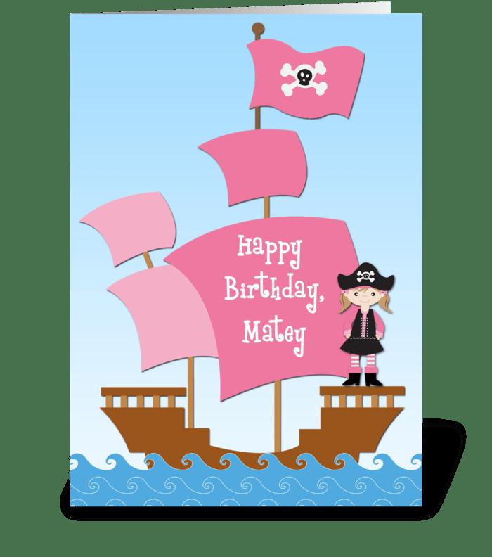 Pink Pirate Birthday  greeting card
