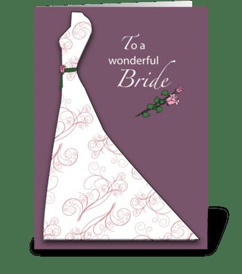 Bridal Shower Plum Dress Congratulations greeting card