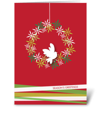 Peaceful dove on a wreath greeting card