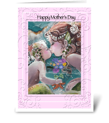 Mermaid Kisses, Mother's Day Greeting greeting card