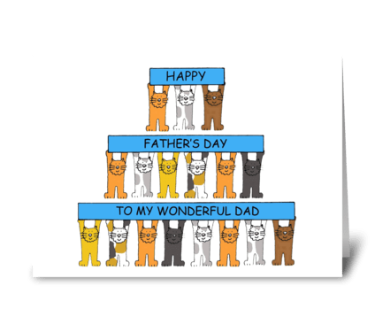 Happy Father's Day Cartoon Cats greeting card