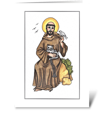 ST. FRANCIS WITH ANIMALS greeting card