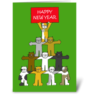 Happy New Year, Cartoon Cats. greeting card