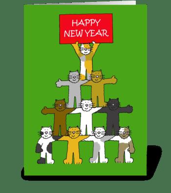Happy New Year, Cartoon Cats. greeting card