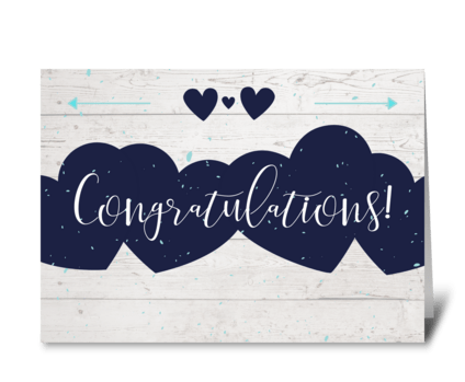 Navy Heart Card to Welcome New Baby greeting card