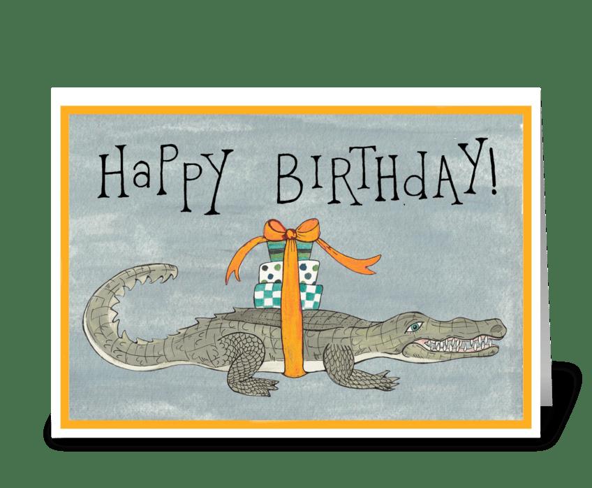 happy birthday crocodile greeting card