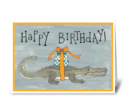 happy birthday crocodile greeting card