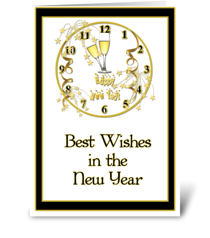 New Year, Gold Clock,  Best Wishes greeting card