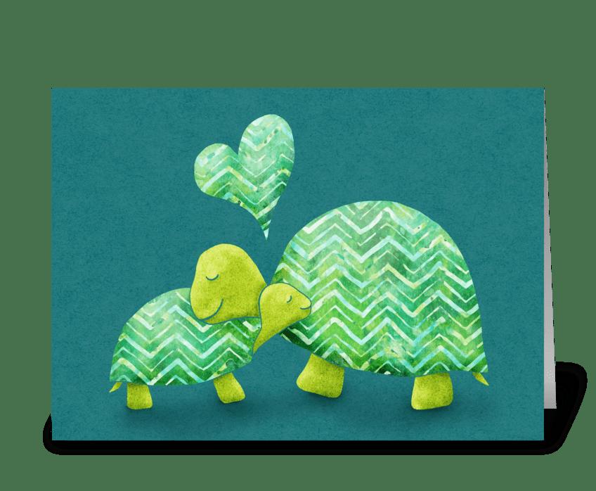 Turtle Hugs greeting card