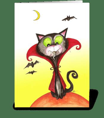 Cat Dracula greeting card