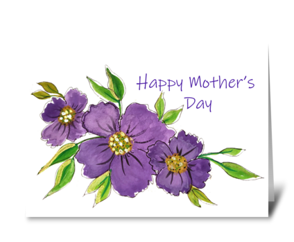 Happy Mother's Day Purple Cosmos Flowers greeting card