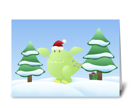 Green Dragon Monster Holiday Scene greeting card