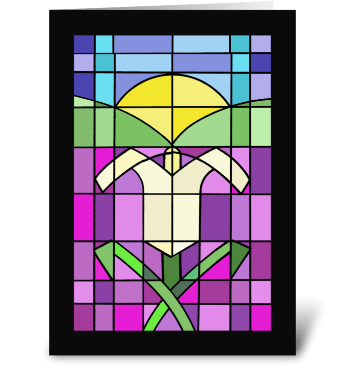 Stained Glass Easter Lily greeting card