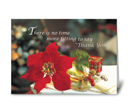 Christmas Business Thank You Poinsettia greeting card