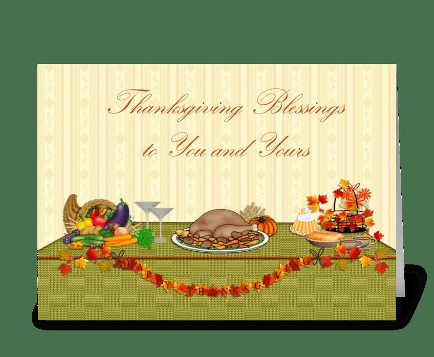 Thanksgiving Blessings, Dinner Table  greeting card